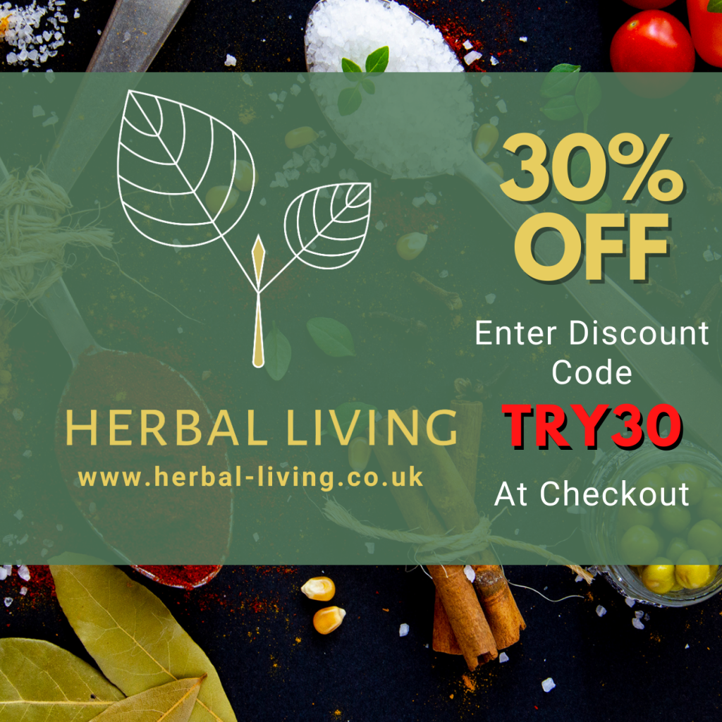 Try Herbal Living UK services risk free with your first purchase, enter coupon code TRY30 on your first order to receive 30% off - One per customer only